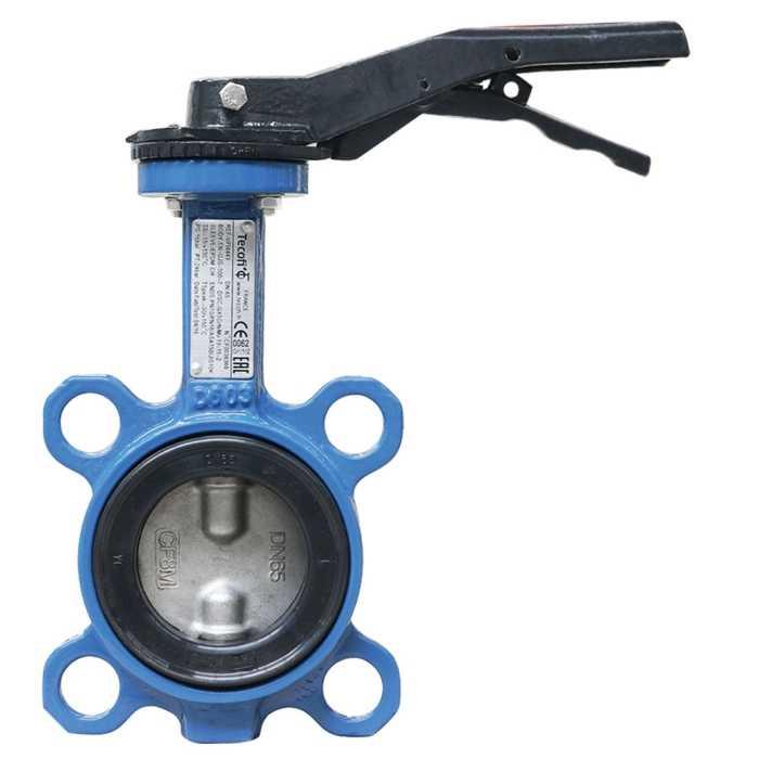 Затвор дисковый поворотный Tecofi чугун, диск хром. чугун, ручка DN 50 PN 16